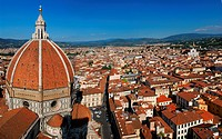 Panorama of eastern Florence with the Duomo dome and Santa Croce, Italy, Tuscany, Florence