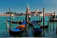 Gondoliers on Giudecca Canal in front of San Giorgio Maggiore in Venice, Italy, Venice, Venice