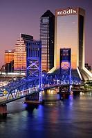 Florida, Jacksonville, Saint St  Johns River, John Alsop Bridge, Main Street Bridge, downtown, Jacksonville Landing, city skyline, Modis Building, sky...