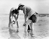 Rachel Carson 1907_1964, American marine biologist and author, carrying out marine research with the wildlife artist Robert Hines 1912_1994. Carson is...