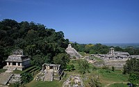 View over the temples of Palenque, Chiapas, Mexico, North America