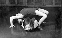 Two girls doing gymnastics, historical image, ca. 1932