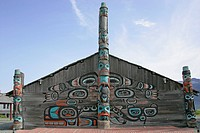 Gathering house in the totem village of Haines Alaska USA