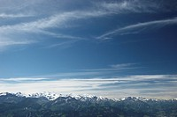 Mountain panorama, view from Niederhorn to the mountain range of the Bernese Alps with Eiger, Moench and Jungfrau, Canton of Bern, Switzerland, Europe