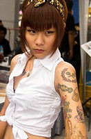tattooed beauty at the Tattoo Festival in Bangkok Thailand