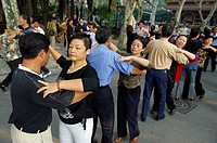 Dance lesson at Fuxing Park, Shanghai, China