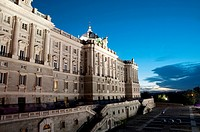 Royal Palace at sunset. Madrid, Spain