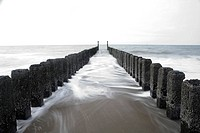 Waves against bollards, Haamstede, Schouwen-Duiveland, Zeeland, Netherlands, Europe