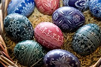 Traditional Silesian Easter eggs decorated through scraping and shaving
