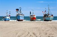 Fishing cutters on beach in northern Jutland, Denmark