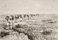 A line of porters carrying expedition supplies during a journey of exploration in East Africa in the mid 19th century  From Afrika, dets Opdagelse, Er...