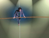 overhead view of man on tightrope