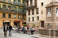 Outdoor cafe in old town, Bilbao. Vizcaya, Basque Country, Spain