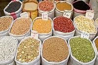 Colorful grain sacks in the bazar of Tripoli