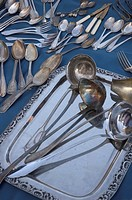 Old silver cutlery at the flea market