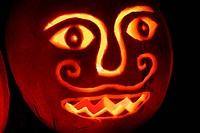 Carved and illiminated pumpkin for Halloween