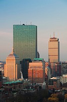 USA, Massachusetts, Boston, Back Bay, John Hancock Building and Prudential Building, dawn