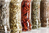 Spice glasses, chilis, sage, cumin, fennel, oregano