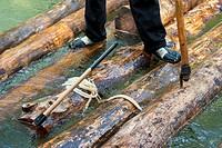 Fiesta Ganchera (timber rafting festival), Poveda de la Sierra, Alto Tajo Natural Park, Guadalajara province, Castilla-La Mancha, Spain