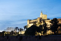 Spain. Balearic Islands. Mallorca. Palma de Mallorca. The Royal Palace of La Almudaina is a fortified palace of Palma, the capital city of the Island ...
