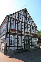 D-Quakenbrueck, Samtgemeinde Artland, Hase, Hase valley, Artland, Oldenburger Muensterland, Lower Saxony, market place, municipal museum, half-timbere...