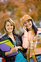 Two female students outdoors portrait