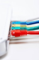 Colourful row of network connection plugs (thumbnail)