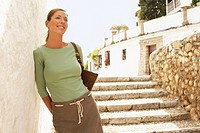 Tourist on Steps in Granada Spain front view