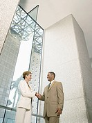 Businesspeople shaking hands in office building low angle view