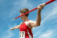 Athlete about to throw javelin half length (thumbnail)