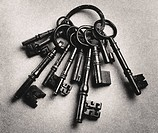 Set of antique keys b&w