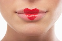 Lips painted with lipstick heart