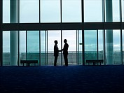 Businessmen Shaking Hands in doorway silhouette profile