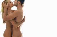 Naked couple embracing on white background