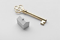 mini house with golden key