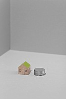 wood, toy, model, house, coin