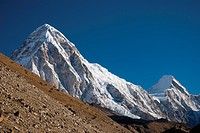 Pumori and Lingtren mountains, in the Everest region of Nepal