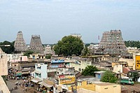 High angle view of temples in a town, Lord Virudhagiriswarar Temple, Virudachalam, Tamil Nadu, India