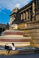 Fountain in front of Narodni Muzeum the National museum in central Prague Czech Republic Europe