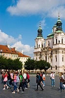 Church of Sv Mikulas at Old Town Square in Prague Czech Republic Europe