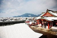 Panoramic view of people praying in a temple on new year day Takahashi , Kumamoto ,Kyushu , Japan