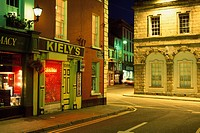 New Ross Town, County Wexford, Ireland, Irish town streetscape at night
