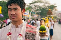 Man in Flower Festival, Chiang Mai, Thailand
