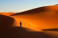 Tourist walking at sunset in the sand dunes of the Erg Muzuruq, Sahara desert, Libya