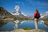 Riffelsee lake and Matterhorn  Switzerland