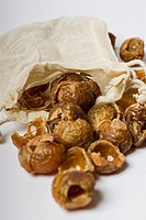 Stock photo of Soapnuts  The nuts are placed inside a washing machine in a small bag to be used as a replacement for chemical washing products