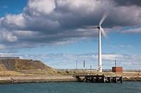 Blyth, Northumberland, England, Wind turbine by waterfront