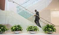 African American businessman ascending staircase