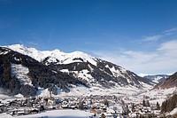 Alpine ski resort in Austrian Alps with snow in Rauriser Sonnen Valley and on Sonniblick Mountains in winter, Rauris, Austria, Europe