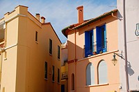 Colorful buildings. Collioure, Roussillon, Oriental Pyrinees, France, Europe